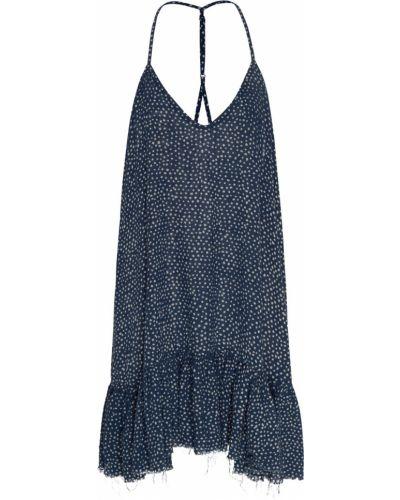 Синее платье на бретелях с V-образным вырезом с оборками One Teaspoon