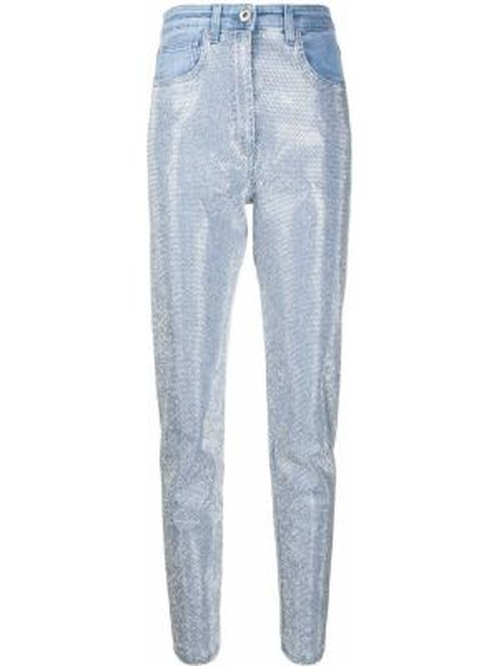 Синие джинсы со стразами с поясом Blumarine