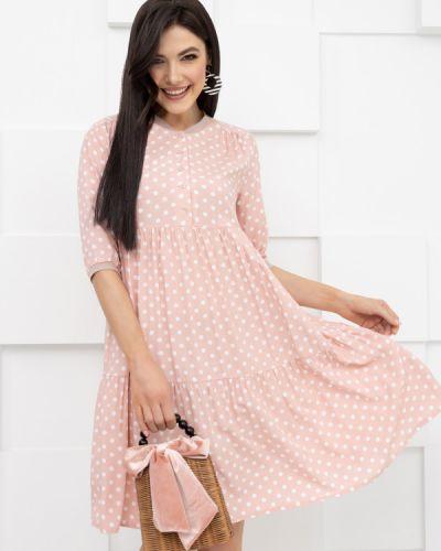 Повседневное серое платье в горошек Charutti