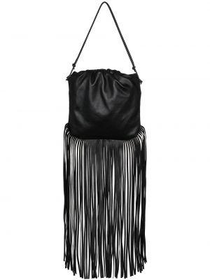 Кожаная черная кожаная сумка с бахромой на шнурках Bottega Veneta