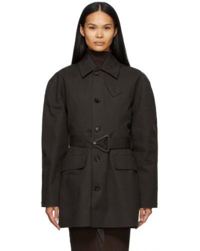 Коричневое длинное пальто с воротником с карманами Bottega Veneta