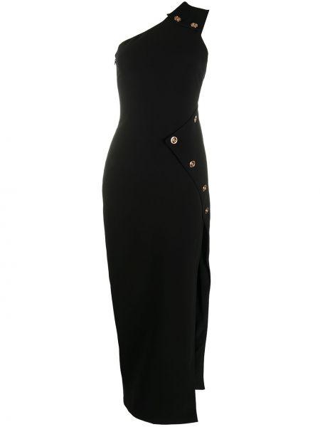 Черное приталенное вечернее платье на одно плечо без рукавов Versace