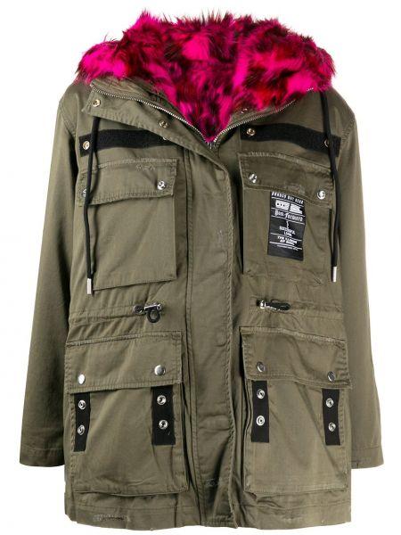Розовое пальто классическое с капюшоном из искусственного меха Diesel