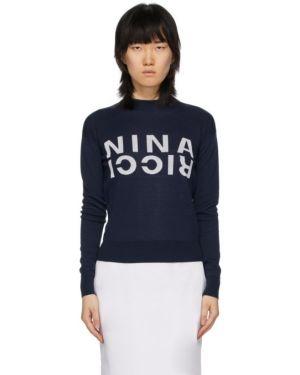 Шелковый белый свитшот с манжетами с длинными рукавами Nina Ricci