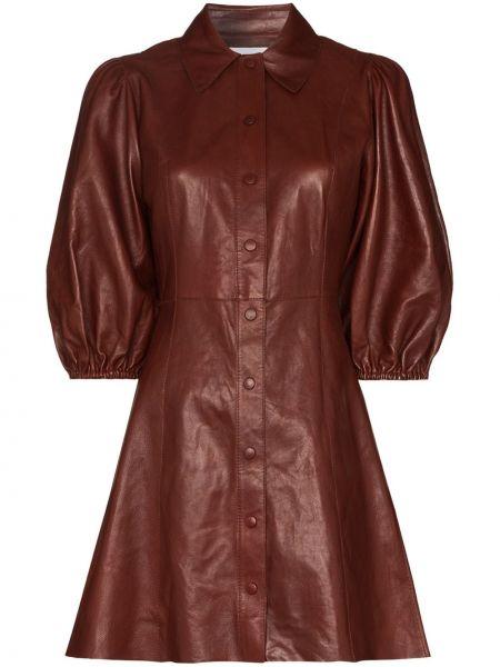Платье мини кожаное Ganni