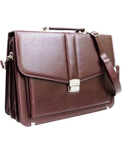Кожаный портфель - бордовый Amo