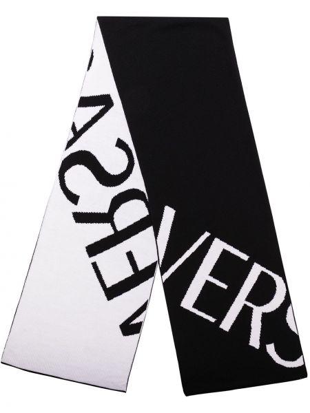Шерстяной черный шарф двусторонний Versace