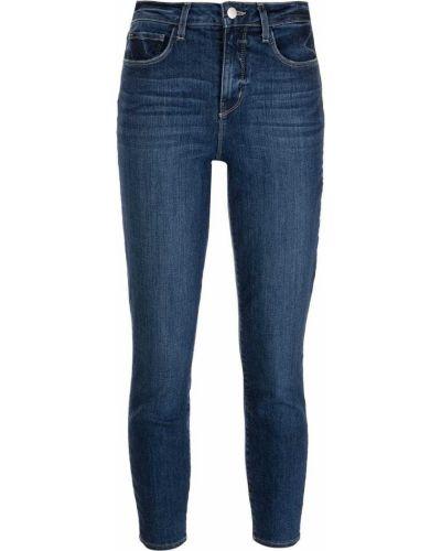 Синие зауженные укороченные джинсы с карманами L'agence