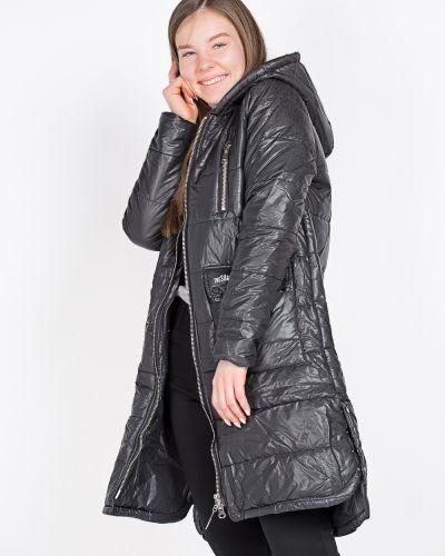Хлопковое черное пальто на синтепоне Coco Max