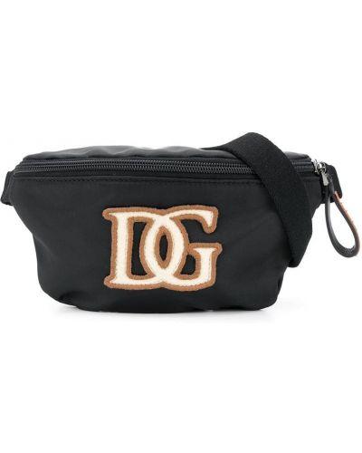 С ремешком черная поясная сумка на молнии Dolce & Gabbana Kids