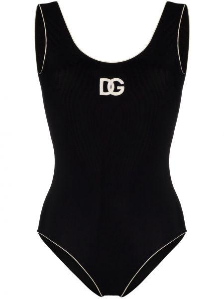 Черный купальник с вышивкой с разрезом Dolce & Gabbana