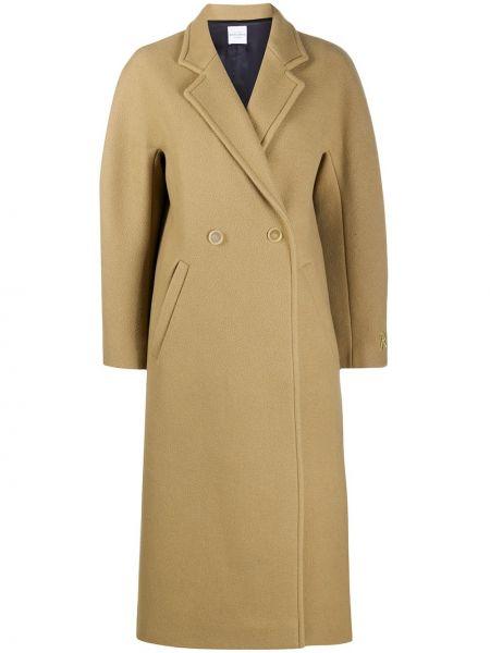 Коричневое шерстяное длинное пальто оверсайз Roseanna
