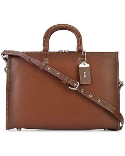 Портфель кожаный на молнии Coach