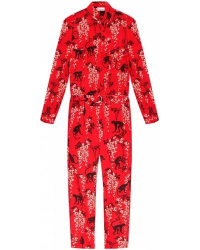 Комбинезон красный с цветочным принтом Red Valentino