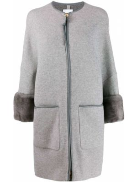 Серое кожаное пальто на молнии с рукавом 3/4 свободного кроя Agnona