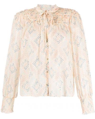 Różowa bluzka z długimi rękawami z jedwabiu Ulla Johnson