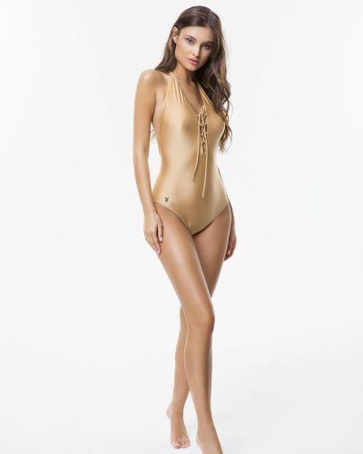 Слитный купальник золотой из плотной ткани Cardio Bunny
