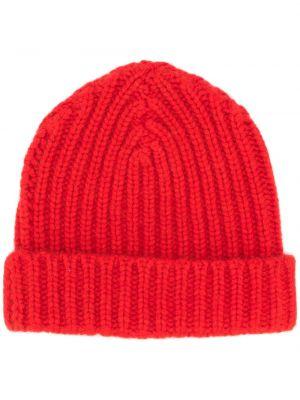 Красная теплая шапка бини с отворотом в рубчик Warm-me
