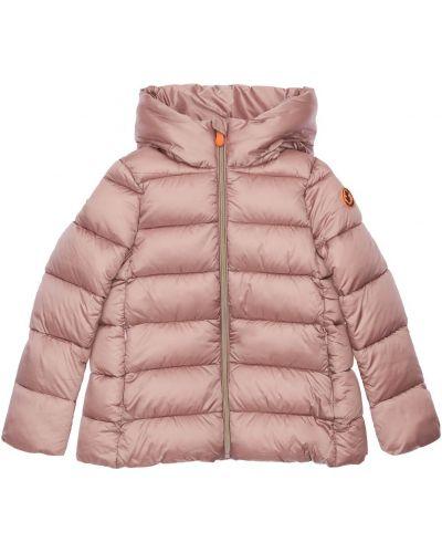 Розовая нейлоновая куртка с капюшоном с воротником с подкладкой Save The Duck