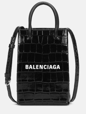Черная кожаная сумка шоппер Balenciaga