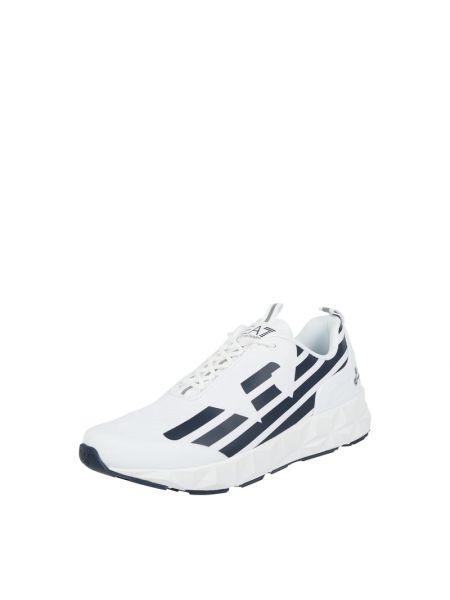 Biały włókienniczy sneakersy z logo zasznurować Ea7 Emporio Armani