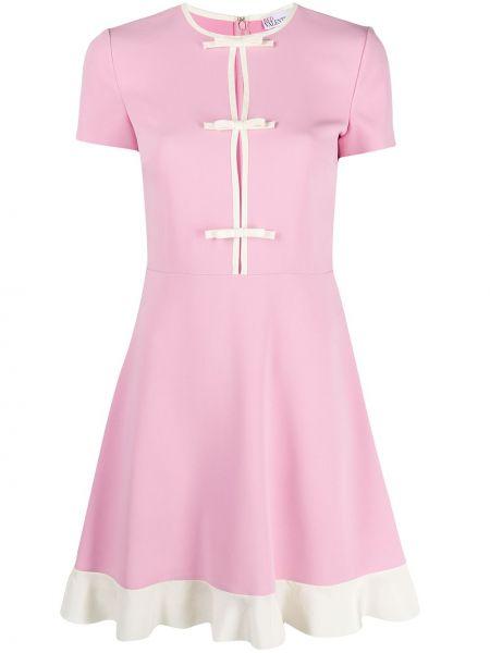 С рукавами розовое платье мини с вырезом Red Valentino