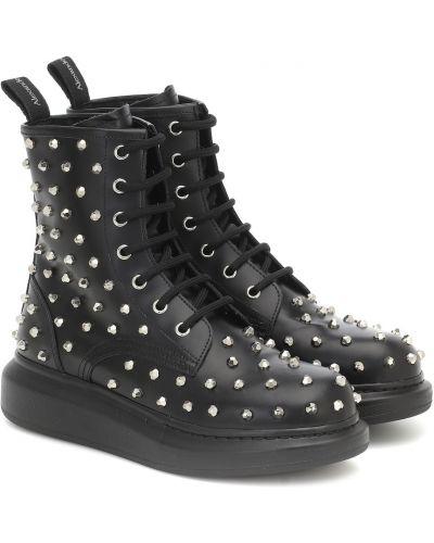 Klasyczny skórzany czarny buty obcasy Alexander Mcqueen