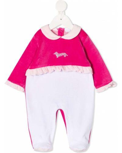 Хлопковый розовый комбинезон с вышивкой на пуговицах Harmont & Blaine Junior