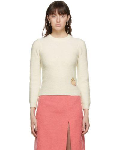 Biały długi sweter z kołnierzem z łatami z mankietami Gucci