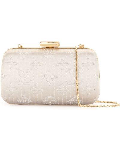 Шелковый золотистый серебряный клатч Louis Vuitton