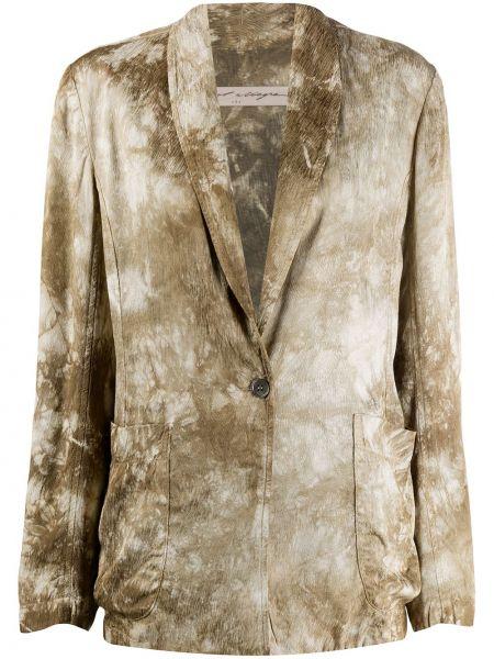 Классический зеленый классический пиджак с лацканами на пуговицах Raquel Allegra