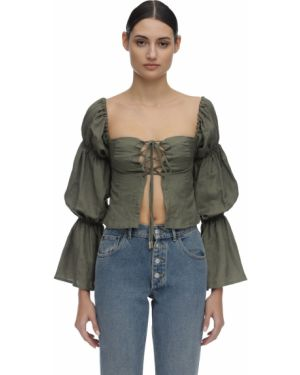Зеленая открытая льняная рубашка Cult Gaia
