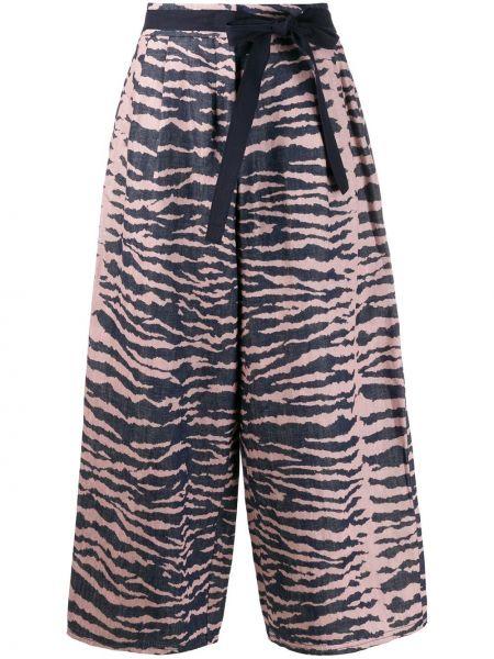 Хлопковые синие свободные брюки с воротником свободного кроя Odeeh