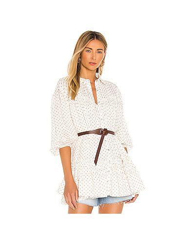 Хлопковое белое платье мини свободного кроя Free People