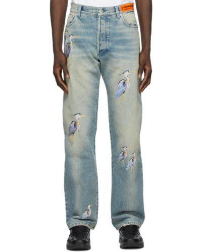 Черные джинсы с вышивкой стрейч Heron Preston
