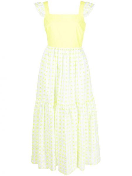 Расклешенное желтое платье миди квадратное Tanya Taylor