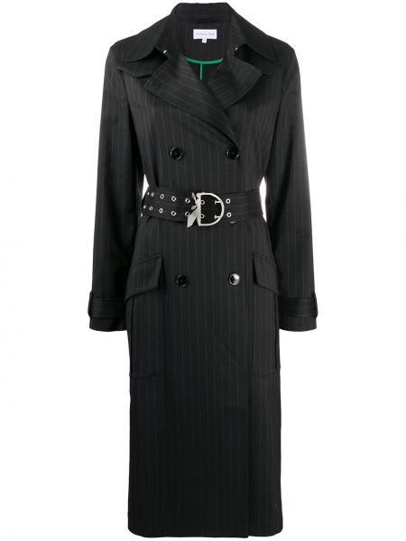 Черное пальто с поясом на пуговицах двубортное Patrizia Pepe