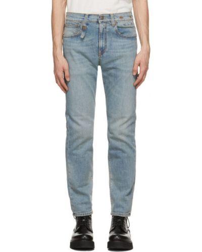 Синие зауженные джинсы-скинни стрейч R13