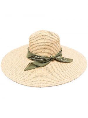 Соломенная хлопковая зеленая шапка Alanui