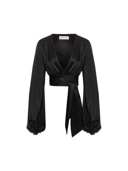 Шелковая черная блузка с бантом с декольте Alexandre Vauthier