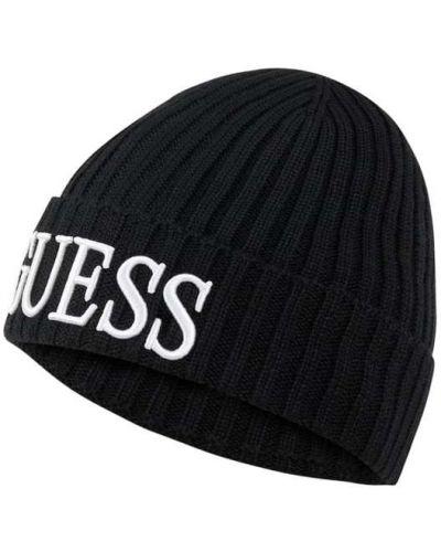 Wełniany czarny czapka baseballowa Guess