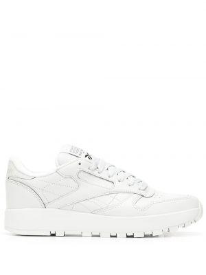 Кожаные белые кеды на шнуровке Maison Margiela X Reebok