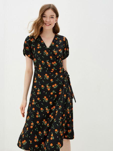 Платье с запахом черное Sela
