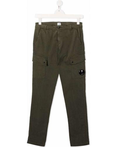 Брючные прямые зеленые прямые брюки с поясом Cp Company Kids