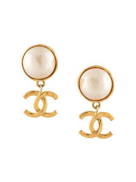 Kolczyki ze sztyftem złoto z perłami pozłacany Chanel Pre-owned
