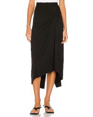 Черная плиссированная юбка мини с разрезом Enza Costa