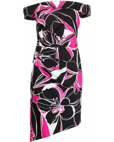 Czarna sukienka midi asymetryczna w kwiaty Milly