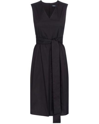 Хлопковое черное платье миди стрейч 's Max Mara
