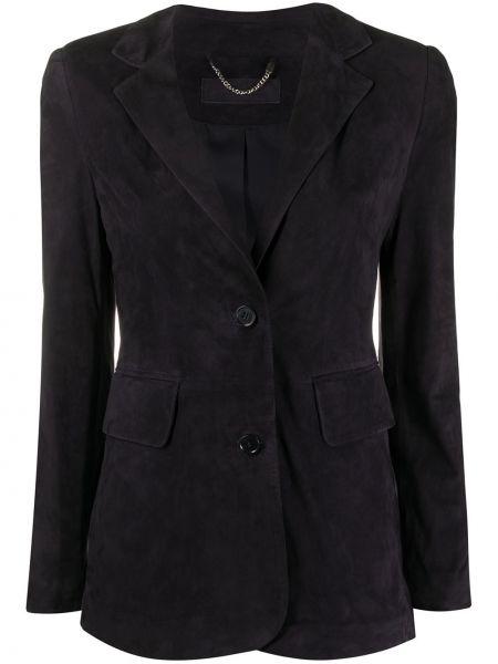 Черный кожаный пиджак с карманами Desa 1972