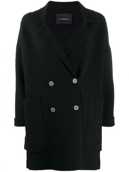 Черное пальто двубортное с воротником John Richmond